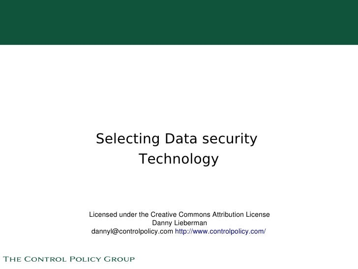 Selecting Data security             Technology       Licensed under the Creative Commons Attribution License              ...