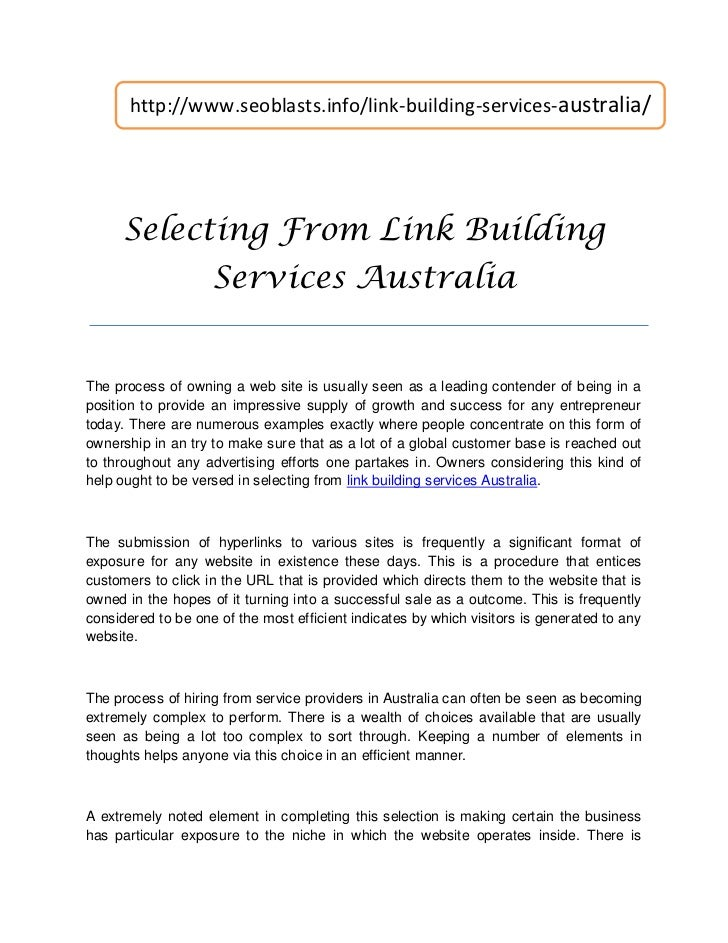 http://www.seoblasts.info/link-building-services-australia/      Selecting From Link Building                    Services ...