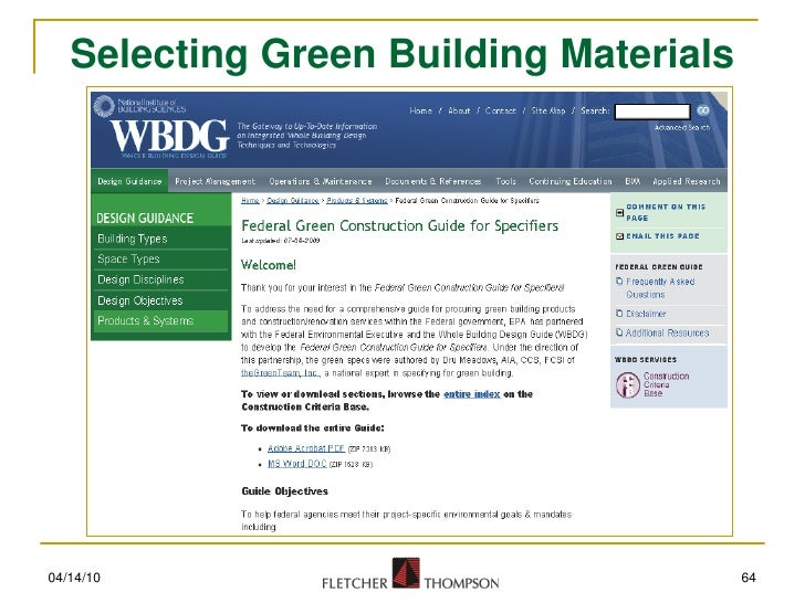 Selecting Green Building Materials