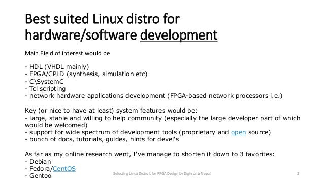 Selecting Linux Distros for FPGA Design