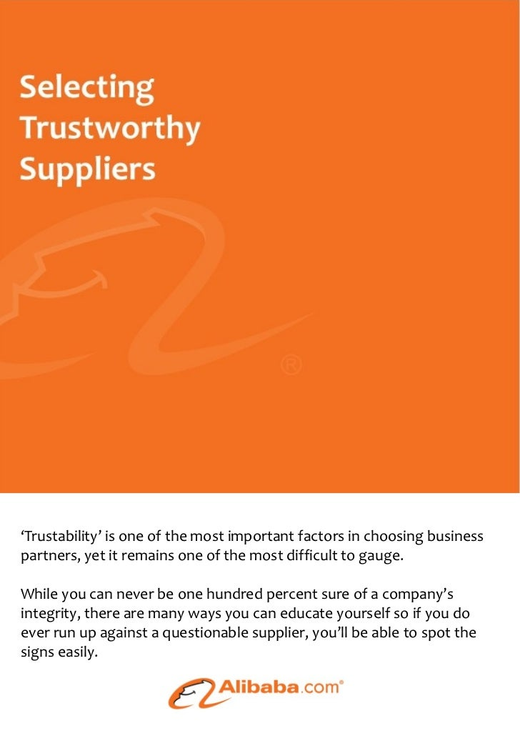 'Trustability' is one of the most important factors in choosing businesspartners, yet it remains one of the most difficult...