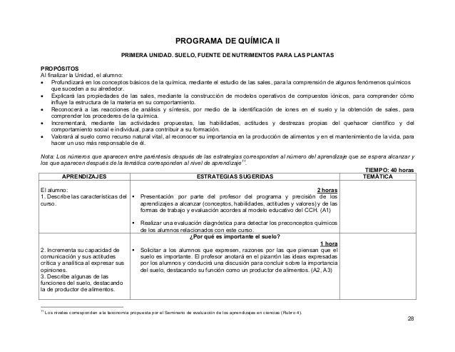 28 PROGRAMA DE QUÍMICA II PRIMERA UNIDAD. SUELO, FUENTE DE NUTRIMENTOS PARA LAS PLANTAS PROPÓSITOS Al finalizar la Unidad,...