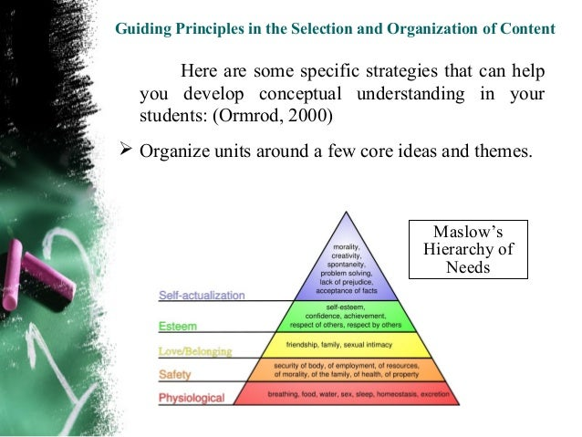 Guiding Principles in the Selection and Organization of Content Explore each topic in depth – for example, by  considerin...
