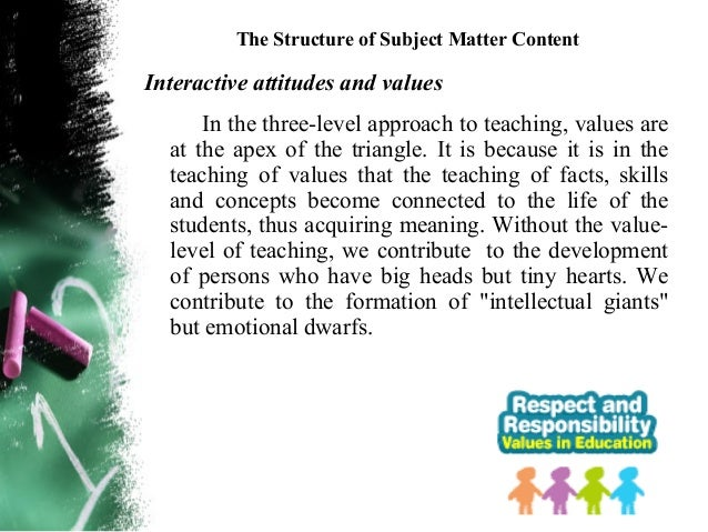 THE VALUES EDUCATION PROGRAMThird, one learns values the way children learn manythings from their parents. Children identi...