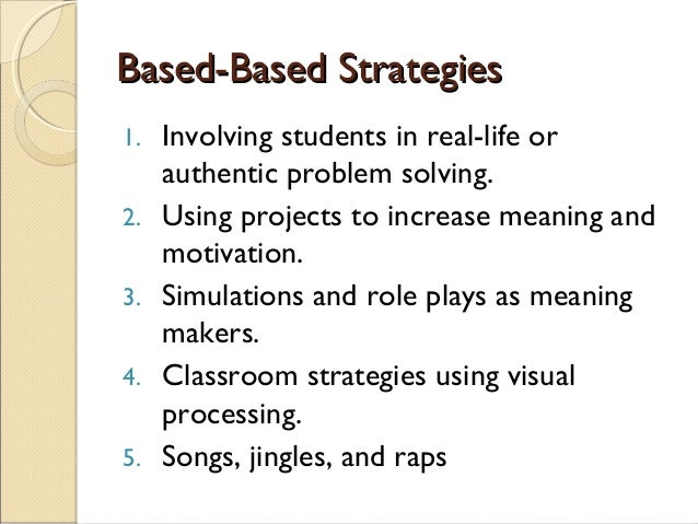 Based-Based StrategiesBased-Based Strategies 1. Involving students in real-life or authentic problem solving. 2. Using pro...