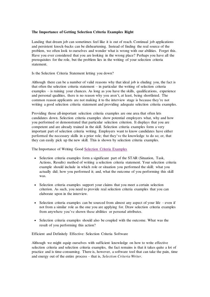 how to address key selection criteria in a cover letter - sample cover letter key selection criteria sample resume
