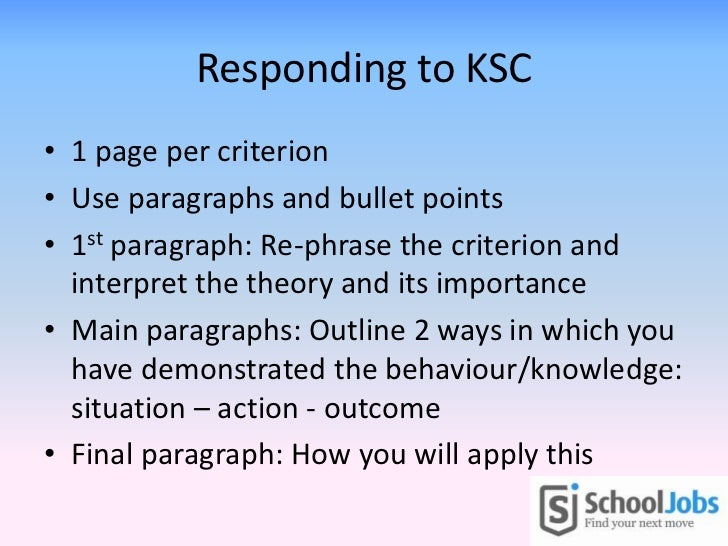 Selection criteria responses