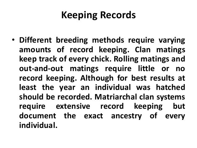 • A breeding program should stress the preservation of breed characteristics such as meat quality and good mothering skill...