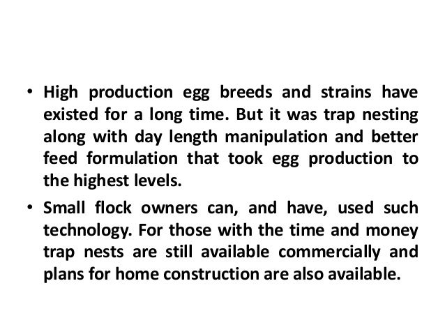 Selection for Eggs