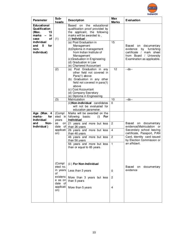 Selection guidelines for_petrol_diesel_retail_6_sep_11