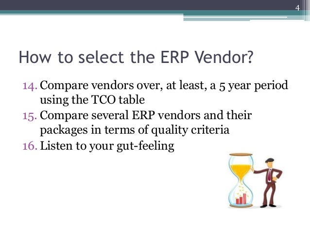 erp vendor Erp offers a central repository of information about services, products, vendors, retailers, company financials, suppliers, customer orders - and more it enables managers to make more informed decisions and improve efficiency across the entire business.