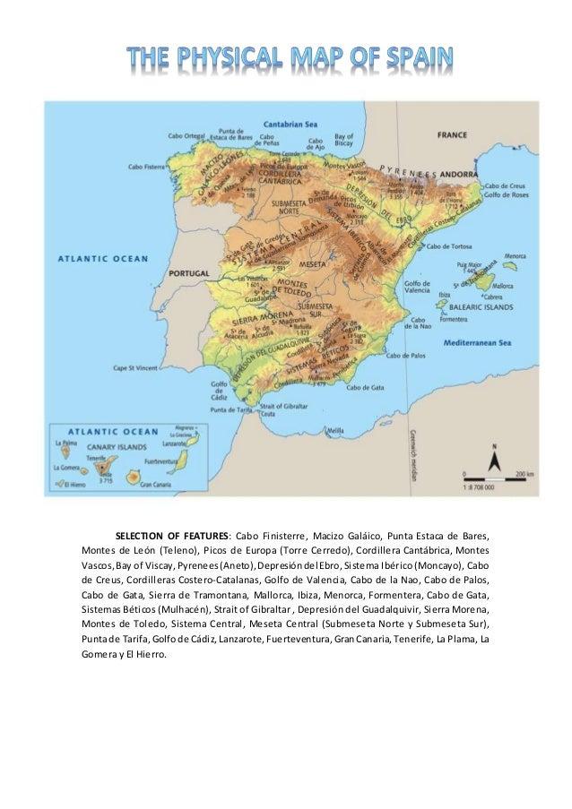 SELECTION OF FEATURES: Cabo Finisterre, Macizo Galáico, Punta Estaca de Bares, Montes de León (Teleno), Picos de Europa (T...