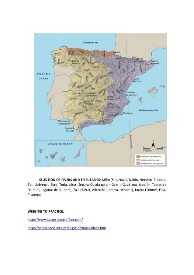 SELECTION OF RIVERS AND TRIBUTARIES: Miño (Sil), Navia, Nalón, Nervión, Bidasoa, Ter, Llobregat, Ebro, Turia, Júcar, Segur...