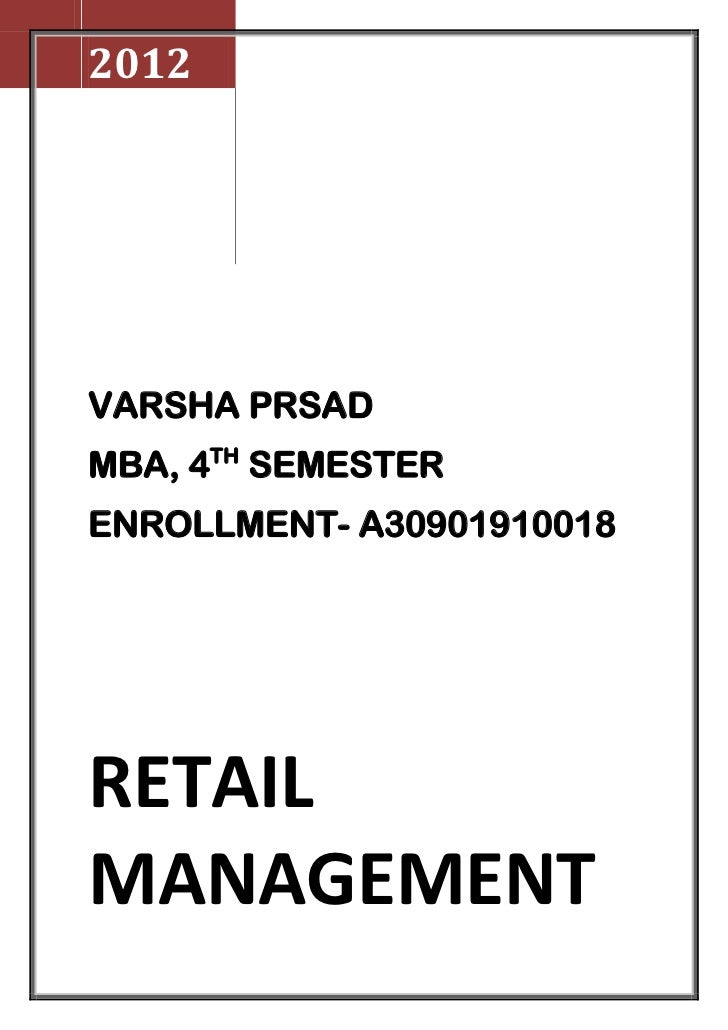 2012VARSHA PRSADMBA, 4TH SEMESTERENROLLMENT- A30901910018RETAILMANAGEMENT