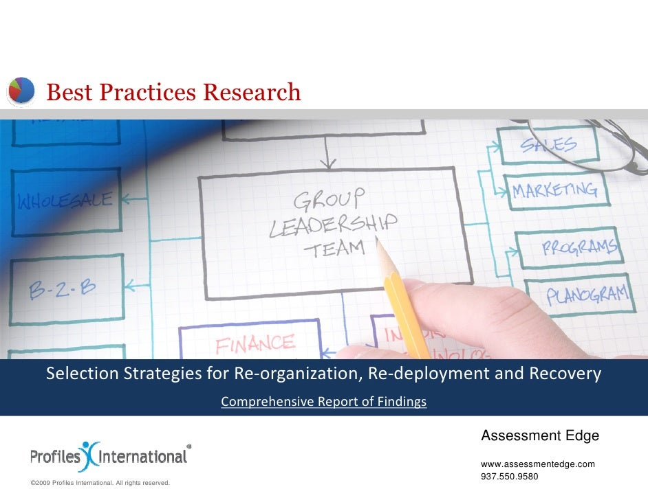 Best Practices Research          Selection Strategies for Re‐organization, Re‐deployment and Recovery      Selection Strat...