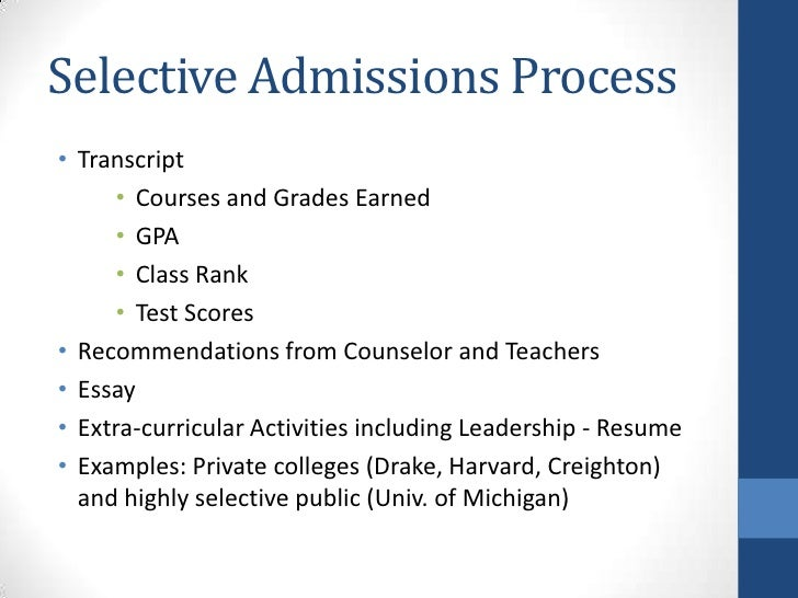 selective college admissions powerpoint sept  2011