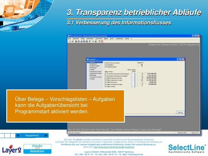 3. Transparenz betrieblicher Abläufe                            3.1 Verbesserung des Informationsflusses     Über Belege –...