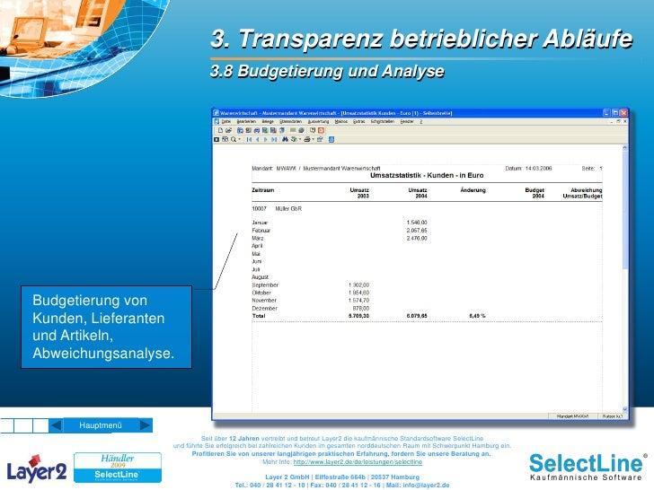 3. Transparenz betrieblicher Abläufe                              3.8 Budgetierung und Analyse     Budgetierung von Kunden...