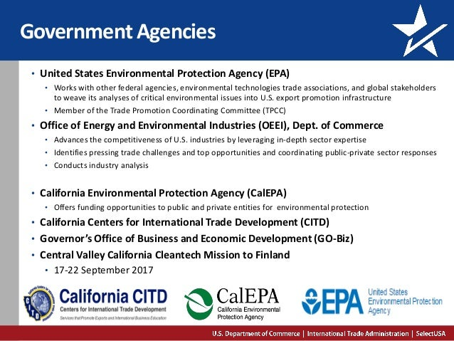 Government Agencies • United States Environmental Protection Agency (EPA) • Works with other federal agencies, environment...