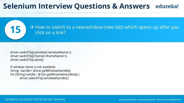 Selenium Interview Questions and Answers | Selenium Tutorial