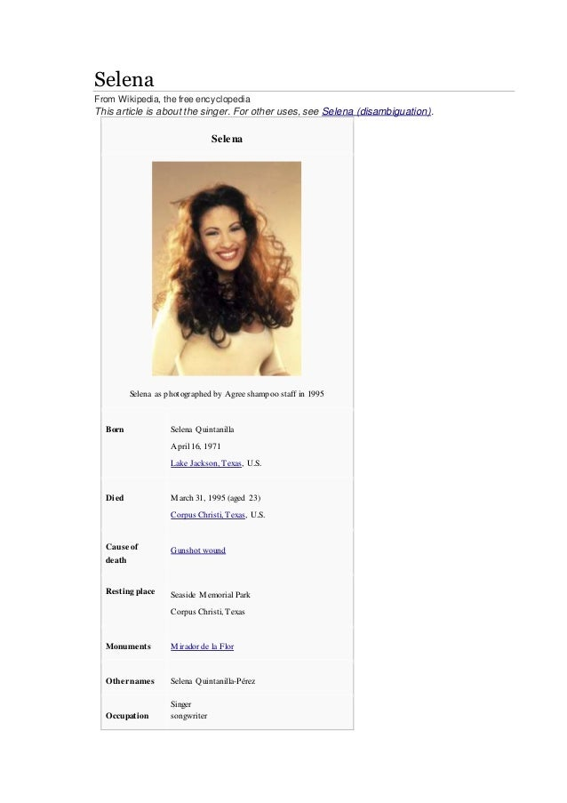 Who is selena quintanilla selena from wikipedia the free encyclopedia this article is about the singer voltagebd Gallery