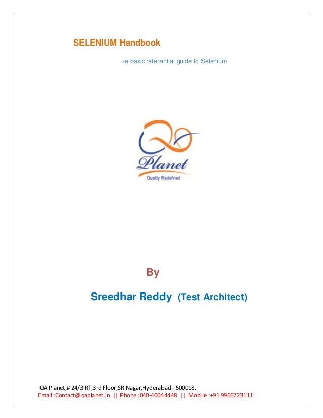 SELENIUM Handbook                             -a basic referential guide to Selenium                                     B...