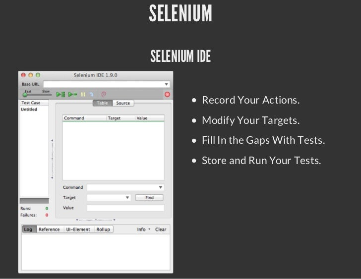 SELENIUMSELENIUM IDE          Record Your Actions.          Modify Your Targets.          Fill In the Gaps With Tests.    ...