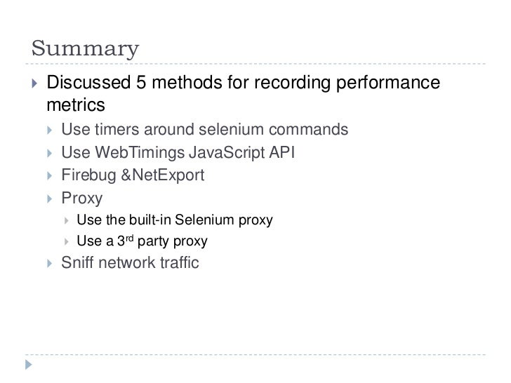 Performance Metrics in a Day with Selenium