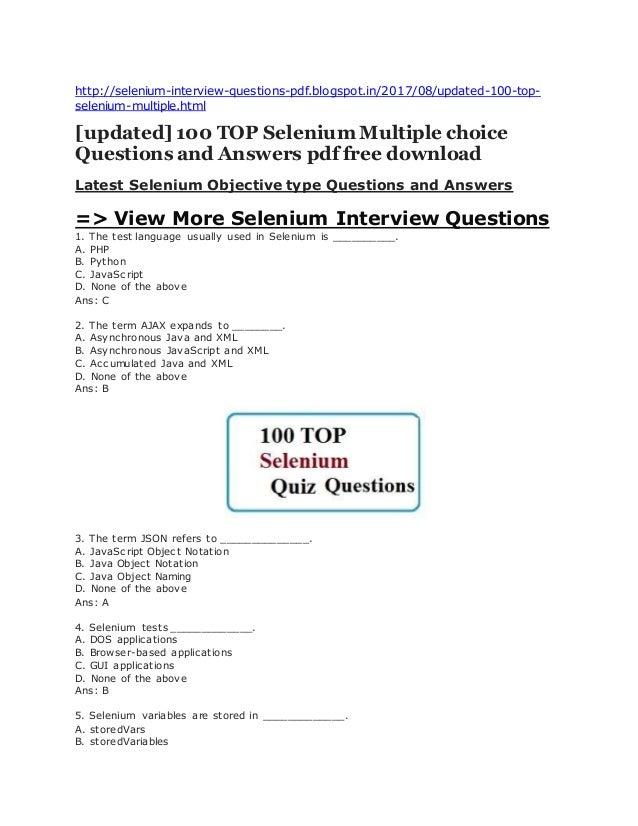 Captivating Http://selenium Interview Questions Pdf.blogspot.in/ ...