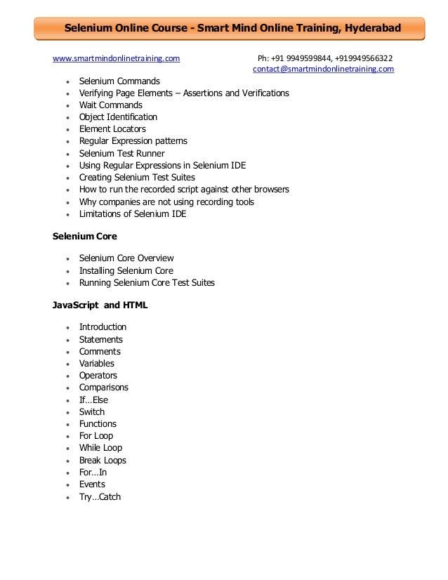 Selenium online training course content