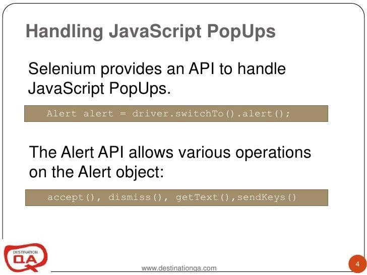 Selenium Webdriver pop up handling