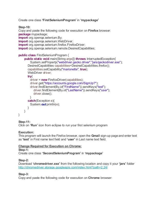 Selenium web driver | java