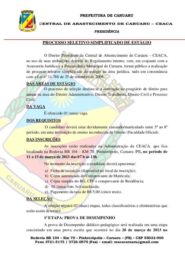 PREFEITURA DE CARUARU                                          PRESIDÊNCIA          PROCESSO SELETIVO SIMPLIFICADO DE ESTÁ...