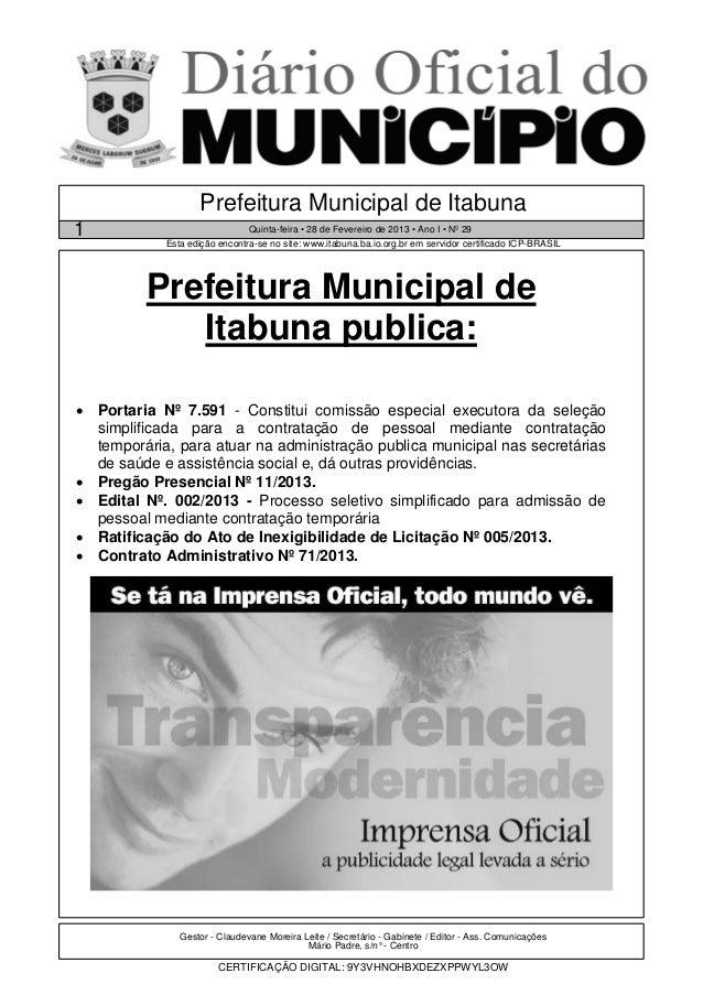 Prefeitura Municipal de Itabuna1                              Quinta-feira • 28 de Fevereiro de 2013 • Ano I • Nº 29      ...