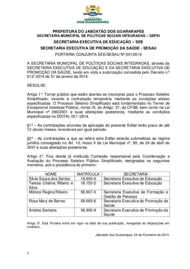 PREFEITURA DO JABOATÃO DOS GUARARAPES SECRETARIA MUNICIPAL DE POLÍTICAS SOCIAIS INTEGRADAS – SEPSI  SECRETARIA EXECUTIVA D...