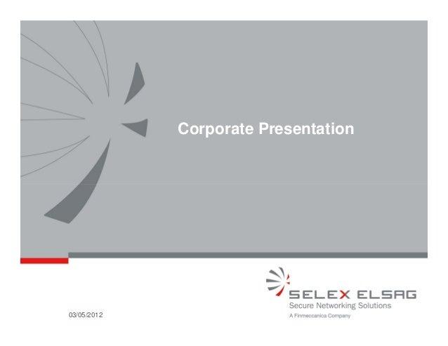 Corporate Presentation03/05/2012