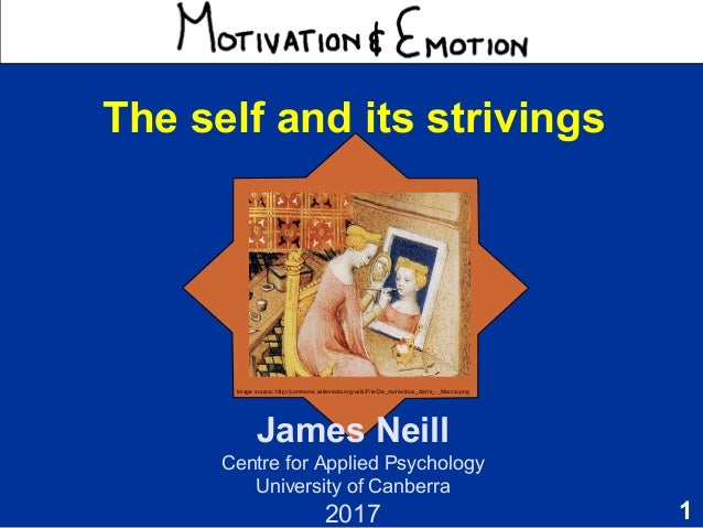 1 Motivation & Emotion James Neill Centre for Applied Psychology University of Canberra 2017 The self and its strivings Im...