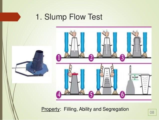 Self consolidating concrete slump testing