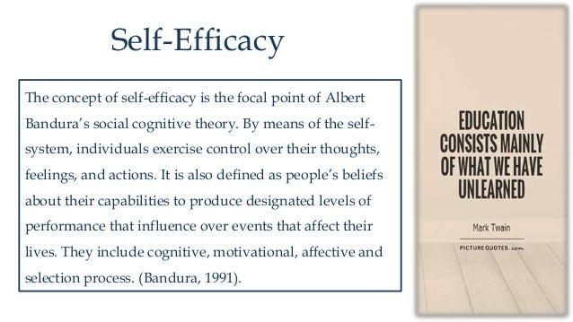 self efficacy Self-efficacy: the exercise of control is a book on scientific psychology written by albert bandurathe book was originally published in the united states in 1997 translations have been published in chinese, french, italian, an.