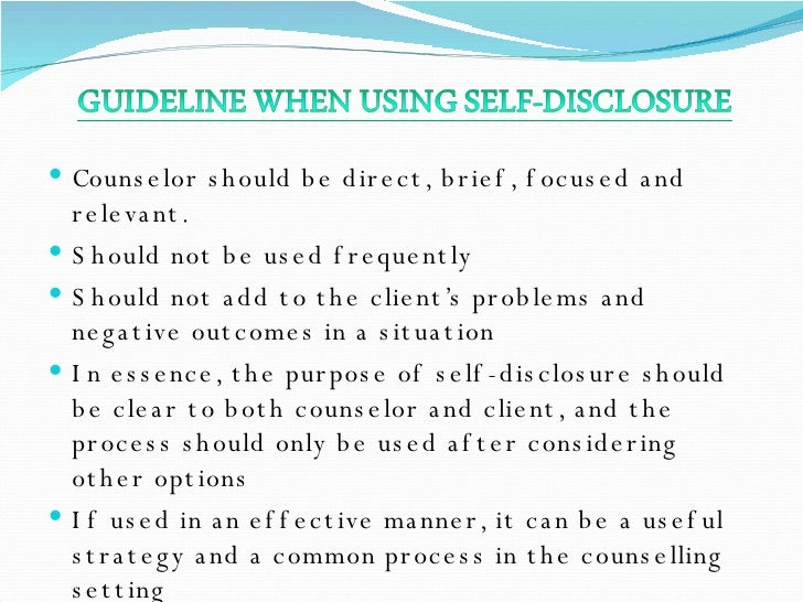 counsellor regulation of self disclosure Transparency and disclosure  and the costs of voluntary self-regulation, including cca's nationally recognized canadian certified counsellor.