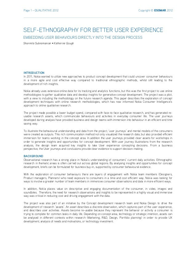 Page 1 – QUALITATIVE 2012 Copyright © ESOMAR 2012 INTRODUCTION In 2011, Nokia wanted to utilize new approaches to product ...