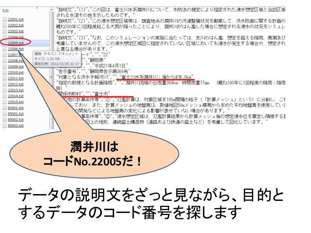 データの説明文をざっと見ながら、目的と するデータのコード番号を探します 潤井川は コードNo.22005だ!