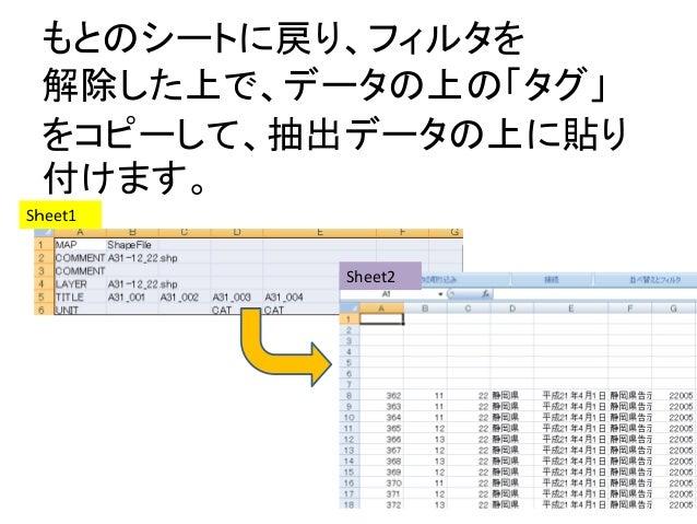 もとのシートに戻り、フィルタを 解除した上で、データの上の「タグ」 をコピーして、抽出データの上に貼り 付けます。 Sheet1 Sheet2