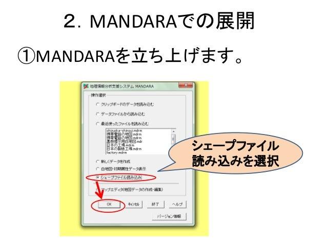 2.MANDARAでの展開 ①MANDARAを立ち上げます。 シェープファイル 読み込みを選択