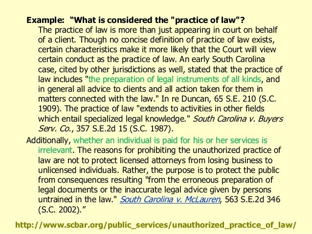 unauthorized practice of law Unauthorized practice rules see rules of the supreme court of virginia  an unauthorized practice of law complaint can be submitted by.