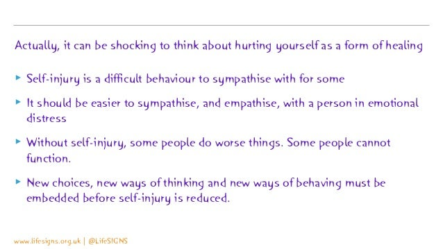 Actually, it can be shocking to think about hurting yourself as a form of healing ▸ Self-injury is a difficult behaviour t...