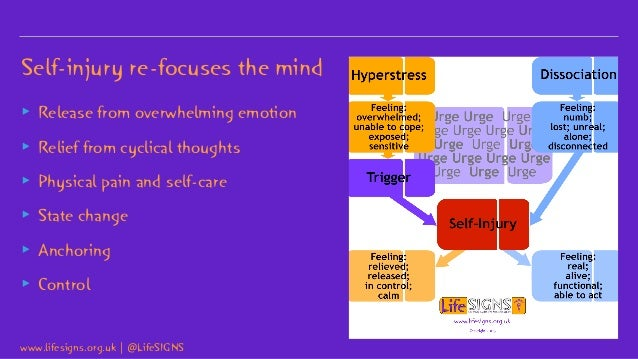 Self-injury re-focuses the mind ▸ Release from overwhelming emotion ▸ Relief from cyclical thoughts ▸ Physical pain and se...
