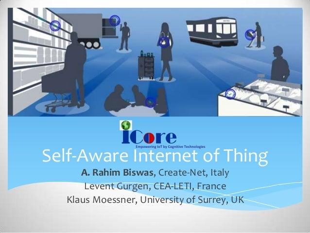 Self-Aware Internet of Thing A. Rahim Biswas, Create-Net, Italy Levent Gurgen, CEA-LETI, France Klaus Moessner, University...