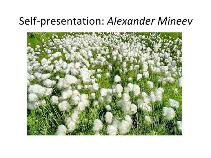 Self-presentation:  Alexander Mineev