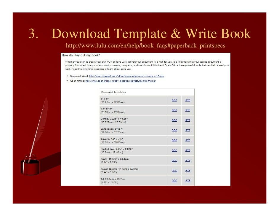 Lulu Book Cover Template ~ Self publishing using lulu